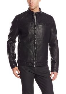 ROGUE Men's Faux Leather Bonded Café Racer Jacket