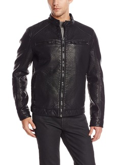 ROGUE Men's Faux Leather Bonded Café Racer Jacket