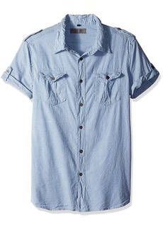 ROGUE Men's Short Sleeve Button Up Stripe Shirt