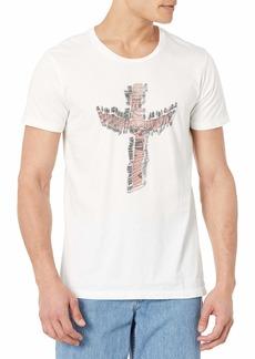 ROGUE Men's Short Sleeve Safety Pin Cross Graphic T-Shirt