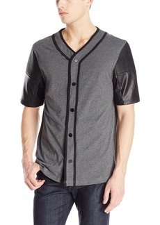 ROGUE Men's Snap Front Jersey Baseball Shirt Grey Heather