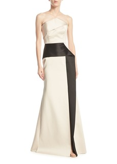 Roland Mouret Addover Strapless Two-Tone Peplum Evening Gown