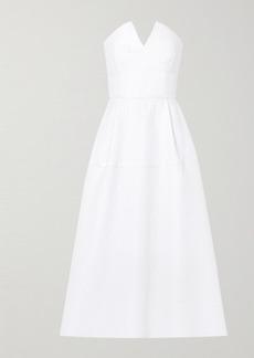 Roland Mouret Aldrich Strapless Frayed Cloque Midi Dress