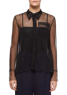 Roland Mouret Algar Sheer-Sleeve Lace Boyfriend Shirt
