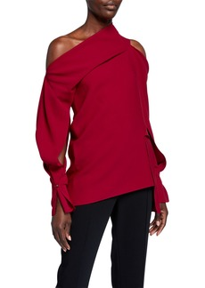 Roland Mouret Asymmetric Stretch-Crepe Top