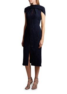 Roland Mouret Belem Dress Silk Jacquard High Neck Dress