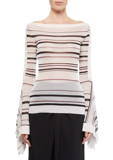 Roland Mouret Biboca Sheer Striped-Knit Bell-Sleeve Top