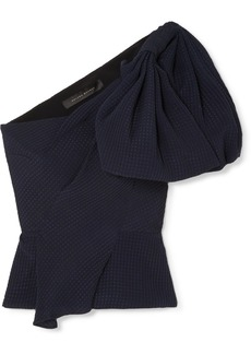 Roland Mouret Bow-detailed Silk-jacquard Top