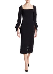Roland Mouret Boynton Puff-Sleeve Midi Dress