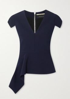Roland Mouret Breen Draped Stretch-crepe Peplum Top