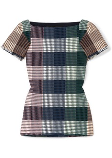 Roland Mouret Clarke Checked Stretch Cotton-blend Bouclé Top