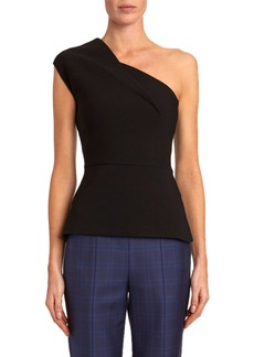 Roland Mouret Coson One-Shoulder Cap-Sleeve Blouse