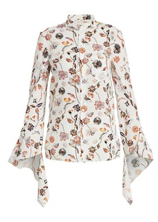 Roland Mouret Damara Floral Flutter-Sleeve Blouse