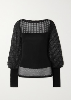 Roland Mouret Drum Patchwork Pointelle-knit Top