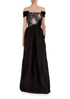 Roland Mouret Embsay Off-the-Shoulder Embroidered-Bodice Jacquard Gown