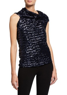 Roland Mouret Eugene Sequined Draped Tie-Back Top