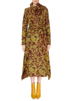 Roland Mouret Fairbanks High Wrap-Neck Floral Tapestry-Jacquard Calf-Length Coat w/ Fringe