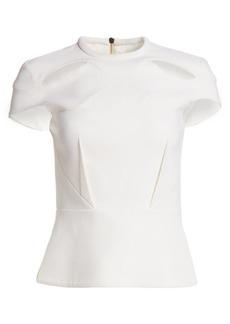 Roland Mouret Hendra Wool & Silk Cut-Out Peplum Top
