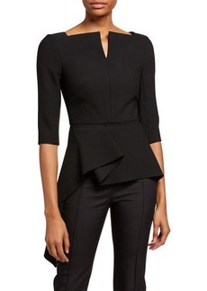 Roland Mouret Heron Notched-Neck Crepe Blouse