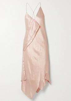 Roland Mouret Jimboy Asymmetric Silk-blend Lurex Midi Dress