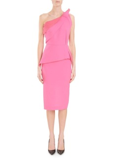 Roland Mouret Mendes One-Shoulder Asymmetric-Drape Peplum Slim Cocktail Dress