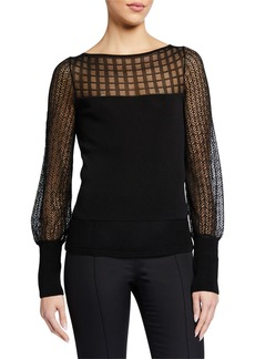 Roland Mouret Patchwork Lace Knit Top