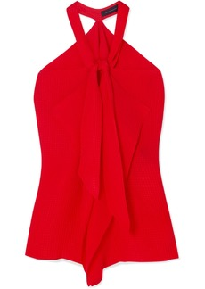 Roland Mouret Pontal Draped Silk-satin Jacquard Halterneck Top