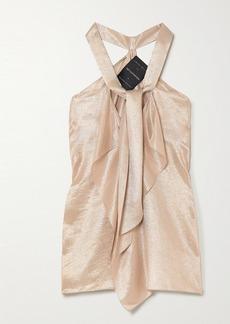 Roland Mouret Pontal Tie-detailed Metallic Silk-blend Top