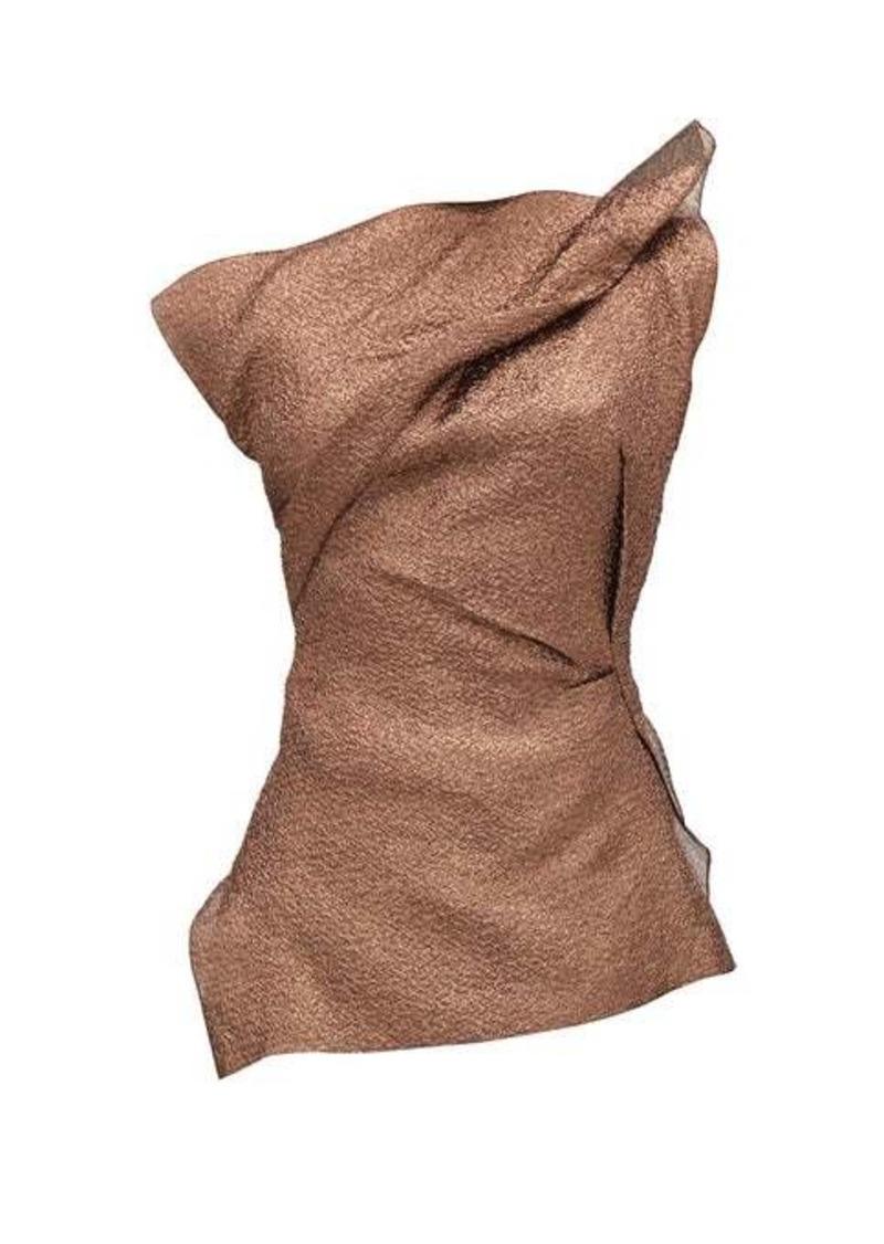 Roland Mouret Braxton hammered-metallic one-shoulder top