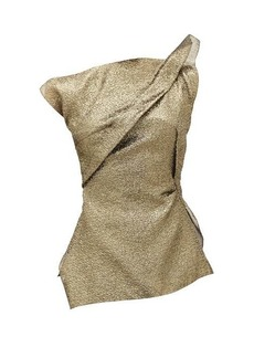 Roland Mouret Braxton metallic-cloqué one-shoulder top