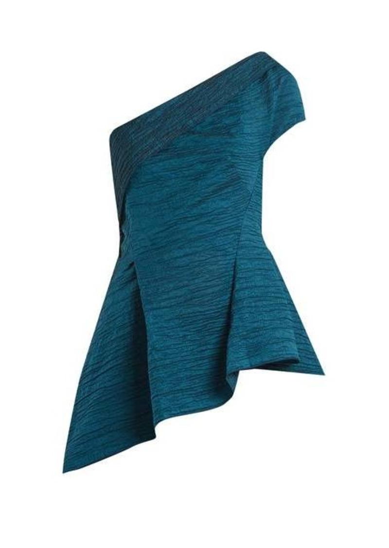 Roland Mouret Brierley asymmetric draped cotton-blend top