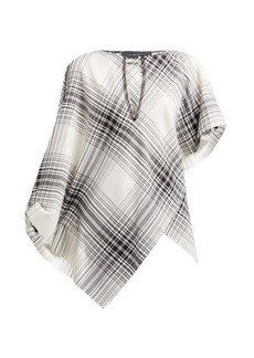 Roland Mouret Durning check wool-crepe top