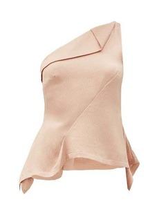 Roland Mouret Fira one-shoulder draped silk-satin top