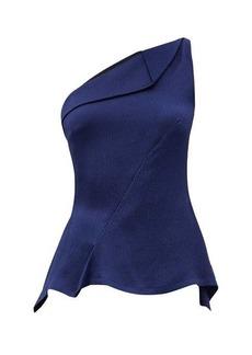 Roland Mouret Fira one-shoulder hammered-silk top