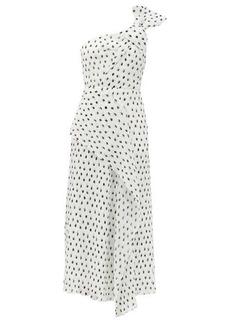 Roland Mouret Giza one-shoulder polka-dot chiffon dress