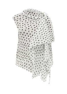 Roland Mouret Pasha polka-dot pleated-cloqué blouse