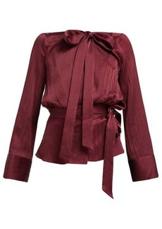 Roland Mouret Pilar neck-tie hammered-satin blouse