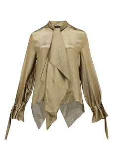 Roland Mouret Royce pussy-bow silk-blend lamé blouse
