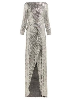Roland Mouret Sarandon sequinned panelled gown