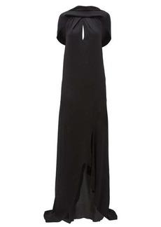 Roland Mouret Skylark draped-shoulder hammered silk-blend dress