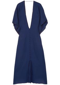 Roland Mouret Woman Adamson Open-back Wool-crepe Midi Dress Indigo