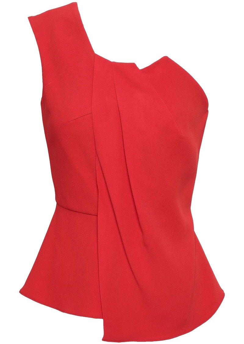 Roland Mouret Woman Alcester One-shoulder Pleated Cady Peplum Top Red