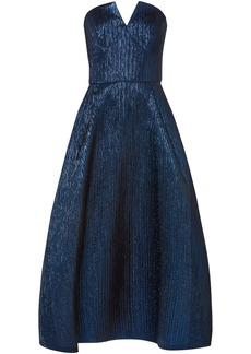 Roland Mouret Woman Aldrich Strapless Lamé Midi Dress Blue