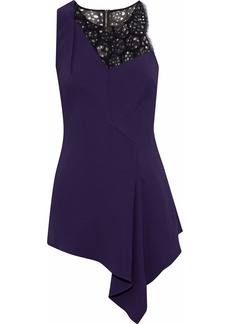 Roland Mouret Woman Asymmetric Embroidered Corded Lace-paneled Cady Top Dark Purple