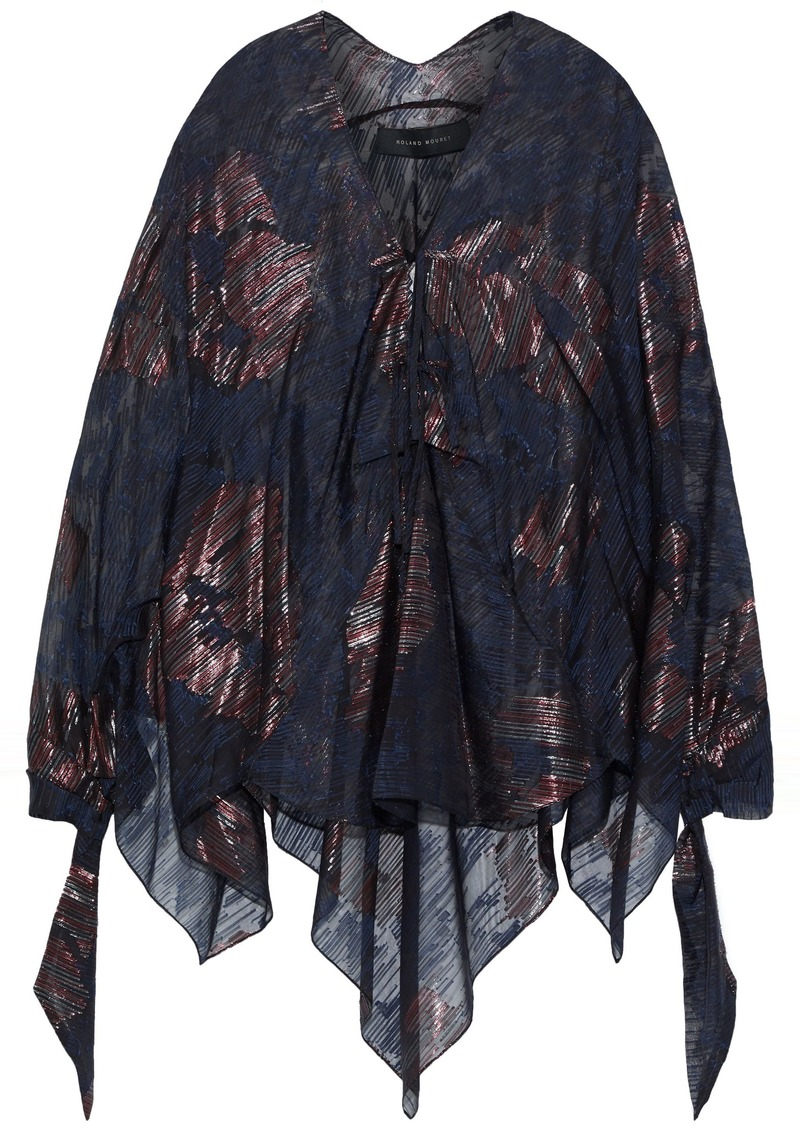 Roland Mouret Woman Becker Metallic Silk-blend Fil Coupé Top Navy
