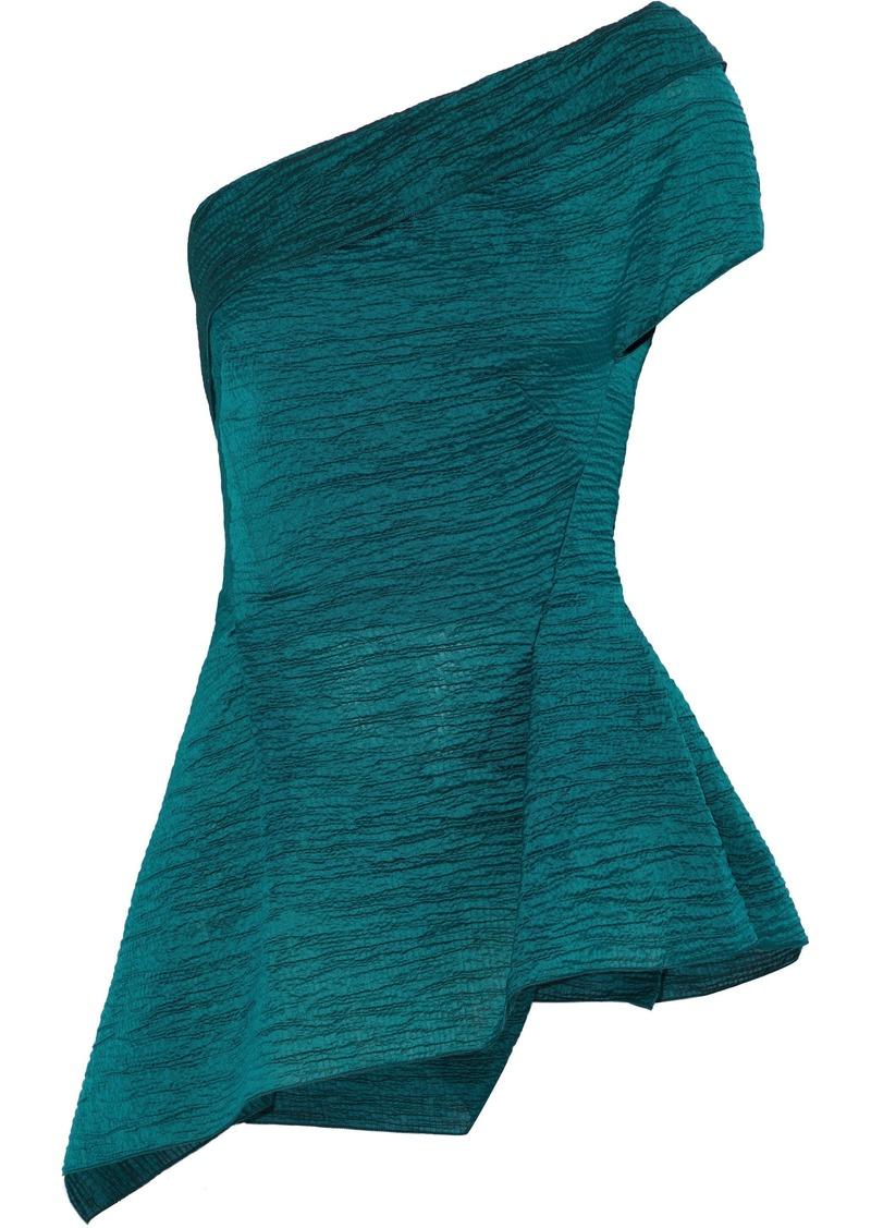 Roland Mouret Woman Brierley One-shoulder Cotton-blend Cloqué Top Petrol