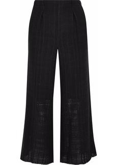 Roland Mouret Woman Broadgate Pleated Open-knit Cotton Culottes Black