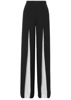 Roland Mouret Woman Burton Two-tone Wool-crepe Wide-leg Pants Black