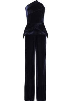 Roland Mouret Woman Carradine Strapless Velvet Jumpsuit Indigo