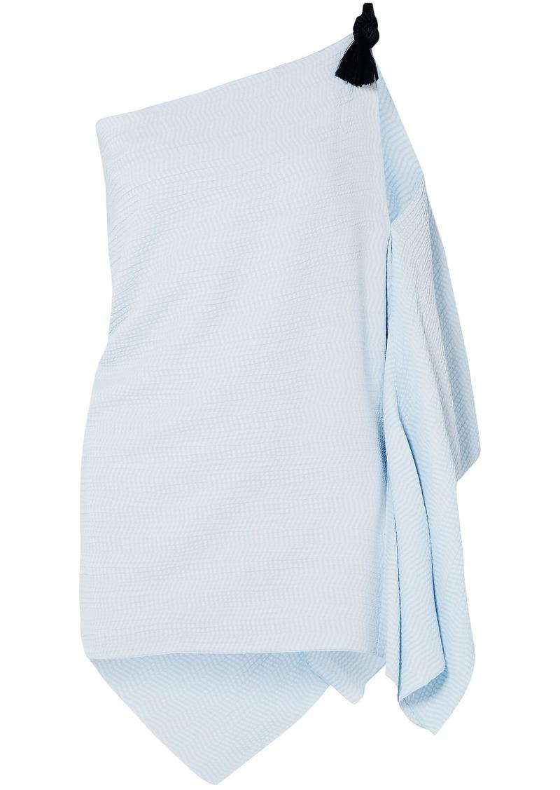 Roland Mouret Woman Chilton One-shoulder Embroidered Cloqué Top Sky Blue